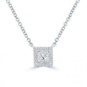 2.6 Ct Princess And Round Diamond Necklace Pendant